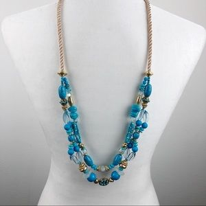 NWT Chico's Double Strand Beaded Necklace Blue
